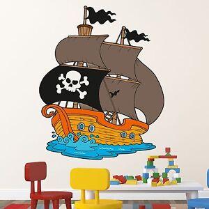 Wallprint wandtattoo piratenschiff comic aufkleber kinder for Wandtattoo piratenschiff