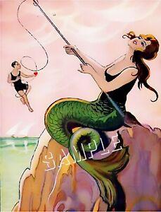 VINTAGE FRENCH ART DECO MERMAID CATCH MAN FISHING POLE *CANVAS* ART PRINT