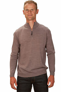 Ugholin-Pull-Homme-Cachemire-Fin-Col-Zippe-Montant-Beige-Manches-Longues