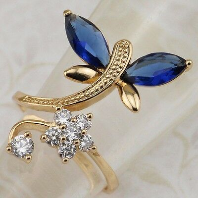 Size 5 6 7 8 9 Hot Dragonfly Blue Sapphire Jewelry Yellow Gold Filled Ring R2575