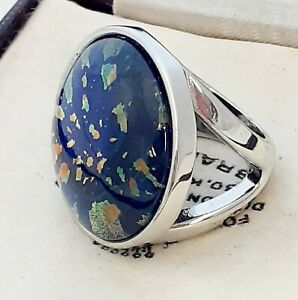 WOW-Large-Statement-Vintage-1950s-CZECH-BLUE-Glass-Fire-Opal-Ring-Size-P