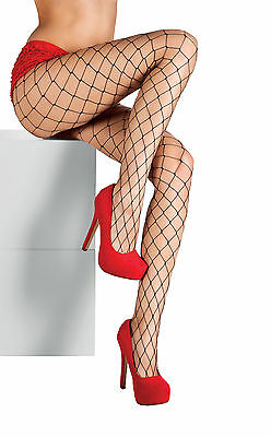 LADIES BLACK FISHNET PANTYHOSE TIGHTS HALLOWEEN FANCY DRESS BURLESQUE WIDE HOLE
