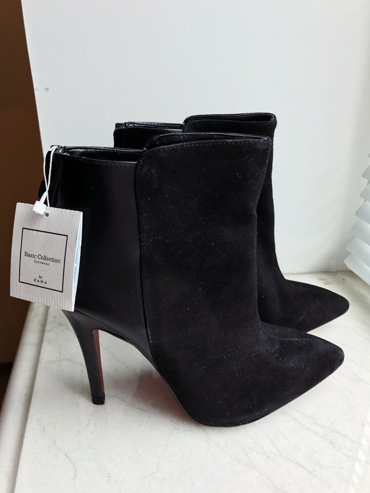 ZARA pointed heeled booties EU39 US9 UK6 NEW W/TAGS real leather