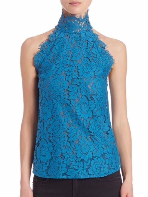 Diane von Furstenberg JEMMIE High Neck Floral Lace Halter Top Größe L NWT