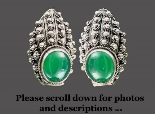 Stunning Vintage Italian Silver and Green Chrysopr