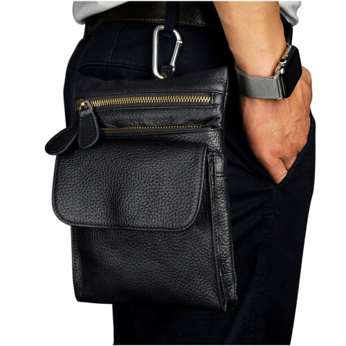 Men Genuine Leather Sport Waist Pack Fanny Wallet Bum Belt Travel Phone Zip Bag