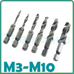 6X-1-4-039-039-Hex-Shank-HSS-Metric-Right-Hand-Screw-Thread-Tap-Taper-Drill-Bit-M3-M10