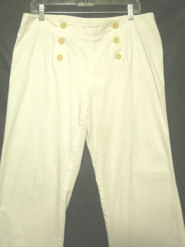 By Plaza Sz 6 Bukser Front City Button White 12 Dkny Wide Leg Bell Sailor wAAax6TSq