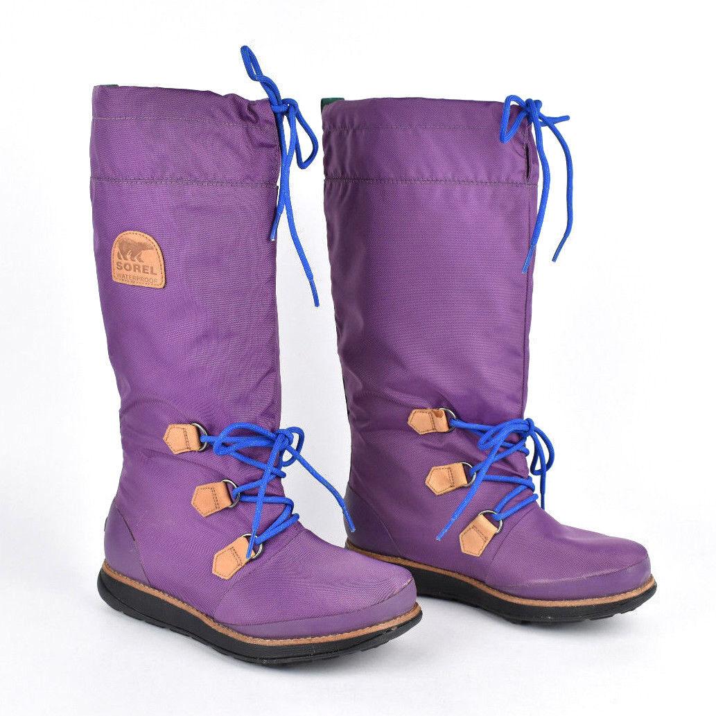 NEU Sorel NL1708 '88 Damens Waterproof Winter Stiefel Purple & Blau Laces Größe 7