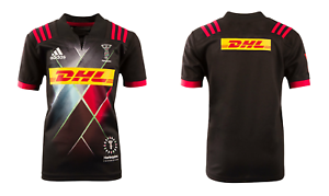 Enfants Adidas Rugby Maillot harlequins rugby 3rd S/S Jersey-Noir-Neuf