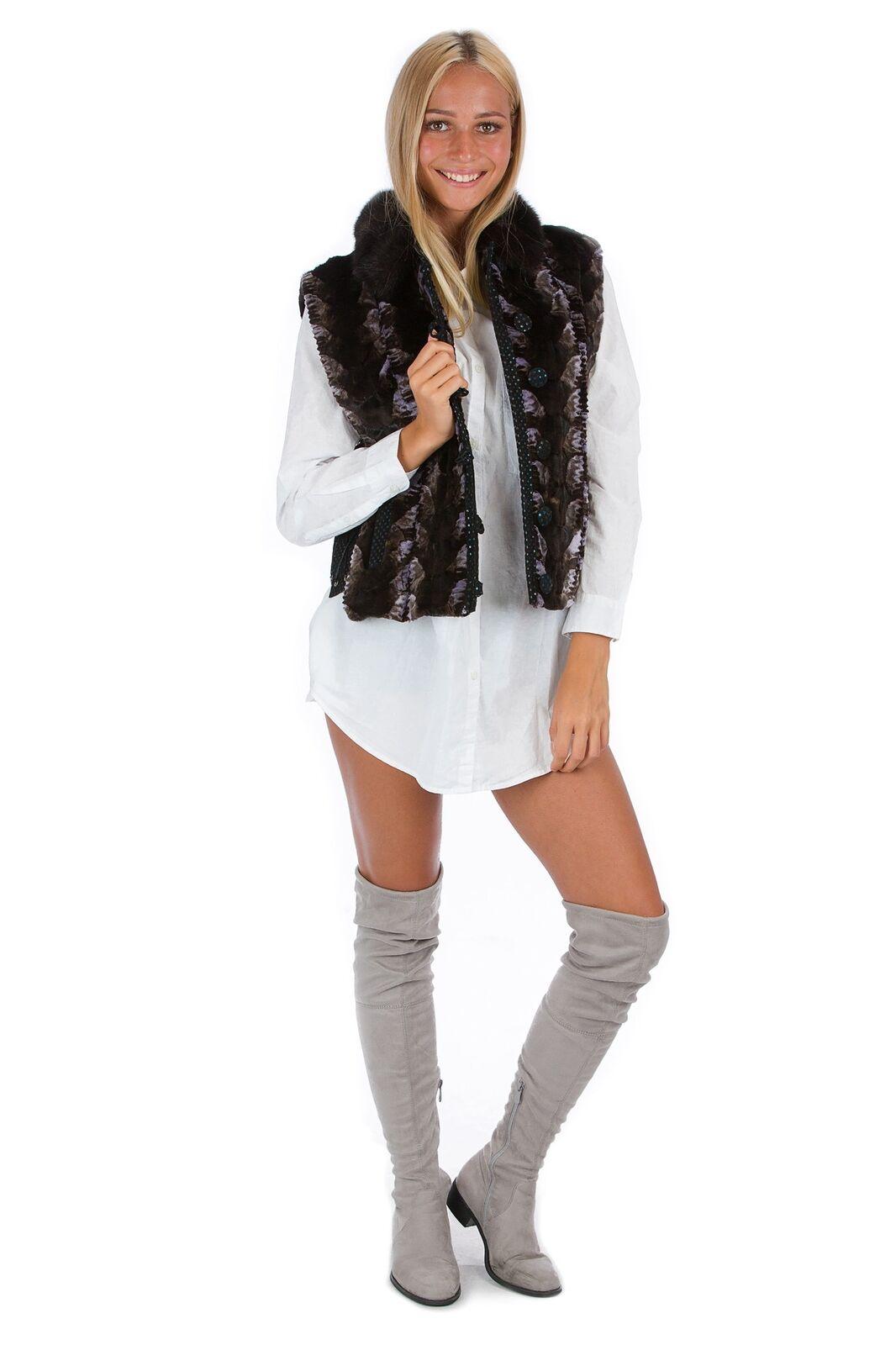 Nerz Fellweste lila braun Luxus Fashion Pelz Mode Mink Style 38 - 40 fur vest ме
