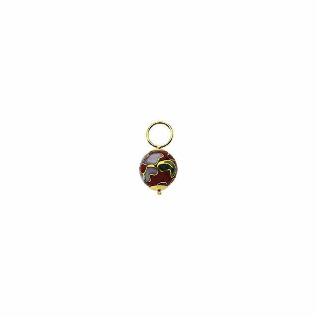 14KT Yellow gold & RED Cloisonne Add to Hoop Earring Charms Hooplet NEW