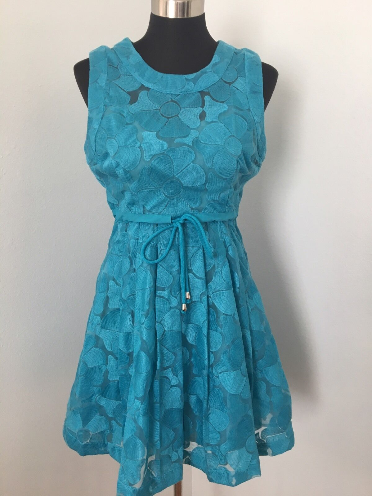 Anthropologie Plenty Tracy Reese Dress 6 Del Mar Fit Flare Floral Turquoise bluee