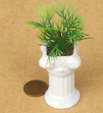 1:12 bianco in ceramica riempito piedistallo & IMPIANTO doll House Miniatura Accessorio Giardino