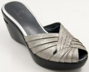 Cole-Haan-Silver-Wedge-Sandals-Metallic-Peep-Toe-Slides-Women-039-s-Slip-On-Sz-8-M
