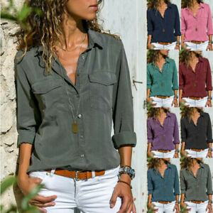 Spring-Womens-Plus-Size-Long-Sleeve-Pockets-Buttons-Shirt-Tops-Casual-Blouse-Tee