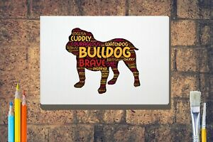 Bulldog-Word-Art-Bulldog-Canvas-A4-A3-A2A1-Mothers-Day-Gift-Personalised-Option