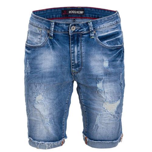 Bermuda uomo jeans corto denim strappato pantaloncini con strappi casual T386