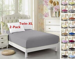 2-Pack-Twin-XL-Fitted-Sheet-For-Split-King-amp-Dorm-Bed-39-034-80-034-Extra-Long-Twin