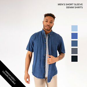 Vintage-Short-Sleeved-Denim-Shirts-XS-S-M-L-XL-XXL