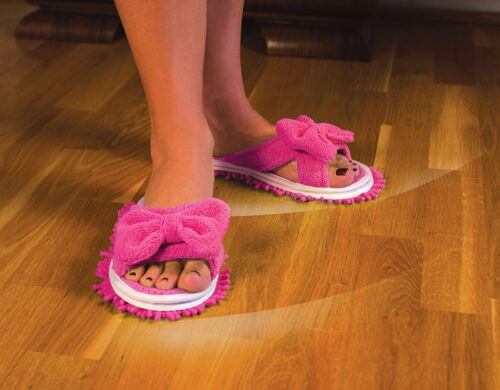 Evriholder Slipper Genie Pink Microfiber Cleaning Slippers w//Bow Size 6 to 9