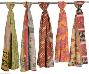 Indian-Cotton-Kantha-Scarf-Reversible-Head-Wrap-Stole-Dupatta-Hand-Quilted-Women