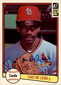 Luis De Leon Signed 1982 Donruss #588 Autographed Cardinals 63478