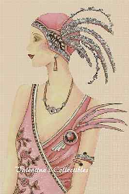 Art Deco Lady in Pink Dress Counted Cross Stitch COMPLETE KIT #1-93