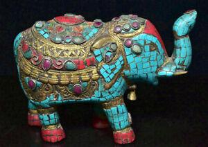 8-034-Tibet-Bronze-Turquoise-Gem-Feng-Shui-Elephant-Animal-Richesse-Chanceux-Statue