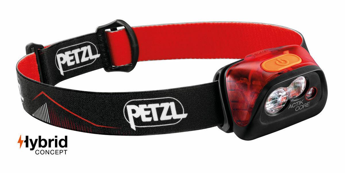 PETZL Testa Lampada actik Core e099ga01 rosso con batteria e cavo di ricarica 450 lumen NUOVO M