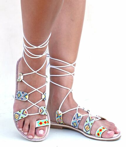 New Women FFe2X9 Embroidered Tribal Lace Up Gladiator Flat Sandals