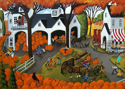 Autumn landscape pumpkins Festival harvest barn Giclee ACEO art print Criswell 3