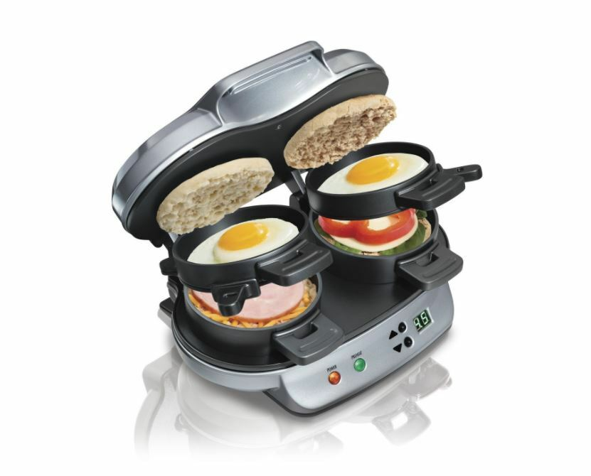 New - Hamilton Beach Electric Dual Breakfast Sandwich and Egg Maker with Timer
