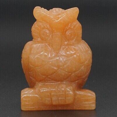 "1.5/"" Natural  Lapis Lazui Crystal Carved Owl Statue Crafts Healing Reiki Decor"