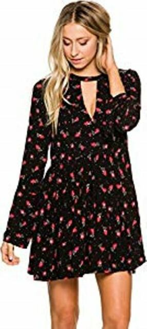 1203a5a923712 People Black Floral Bell Sleeve Mini Casual Dress Size 0 for sale ...