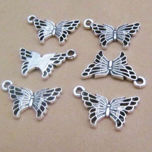 30pc Retro encantos de la mariposa de plata tibetana Colgante de animales fabricación de joyas H704
