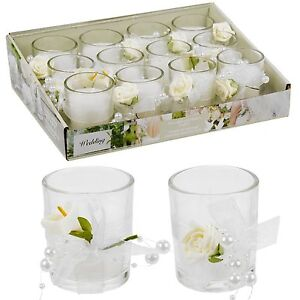 12-Scented-Wedding-Candles-In-Glass-Fragrant-Table-Centrepiece-Flower-Decor
