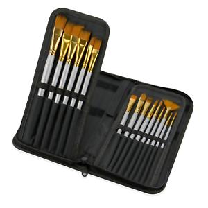 15 Piece Artists Paint Brush Set & Case Knife & Sponge Included Pukkr