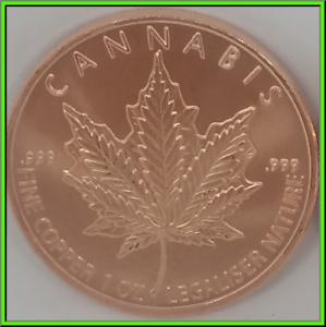 2019  CANNABIS   1 oz Copper Round Coin  Silver Shield