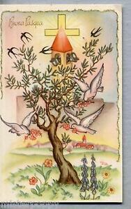 Buona-Pasqua-con-Campane-Rondini-Colombe-Easter-Bells-Cloche-PC-Circa-1950