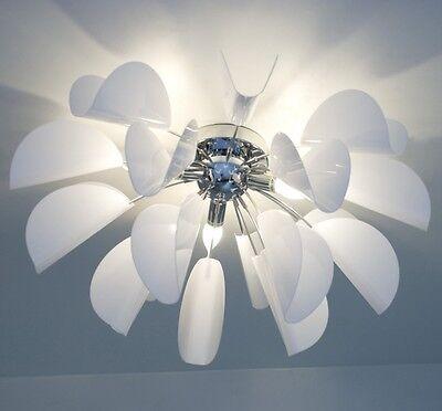 Plafoniera Stile moderno Metallo cromato e acrilico bianco Design Lampada 9881