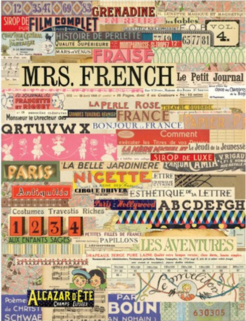 "FRENCH FOUNDATION 8.5""x11"" Collage Sheet mixed media altered art ATC cardmaking"