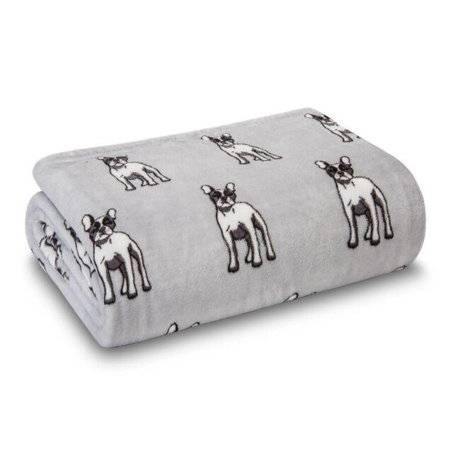 Halloween Sugar Skulls French Bulldog Plush Fleece Throw Blanket 50 x 60