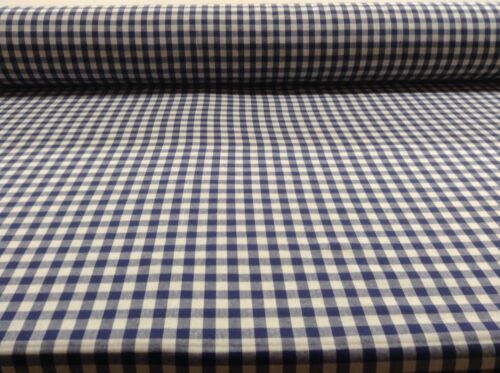 French  Lyon Cotton Gingham Check Blue Curtain//Craft upholstery Fabric