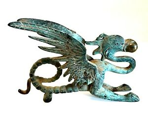 Solid-Brass-Flying-Dragon-Vintage-Winged-Griffin-Patina-Ball-in-Mouth-6-inches