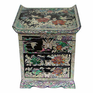 Mother-of-Pearl-House-Flower-Wood-Oriental-Treasure-Jewelry-Ring-Box-Chest-Case