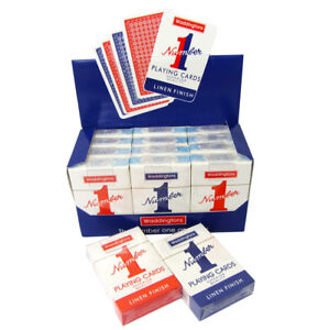 Waddington No1 Classic Playing Cards Decks of Red & Blue Linen Finish