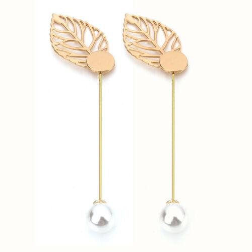 10pcs//lot 14K Gold Plated Pearl Metal Leaf Shape Stick Men/'s Lapel Brooch Pins
