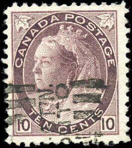 1898-Used-Canada-10c-F-VF-Scott-83-Queen-Victoria-Numeral-Stamp