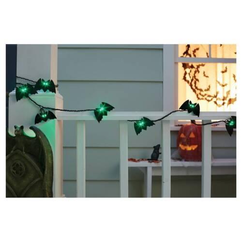 HALLOWEEN 10 GREEN EYE BLACK METAL BAT STRING LIGHTS INDOOR OUTDOOR BLACK WIRE